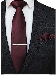 JEMYGINS حالت جامد کراوات فرم فرم و جیب مربع کلیپ برای مردان