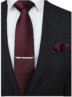 JEMYGINS Solid Color Formal Necktie and Pocket Square Tie Clip Sets for Men