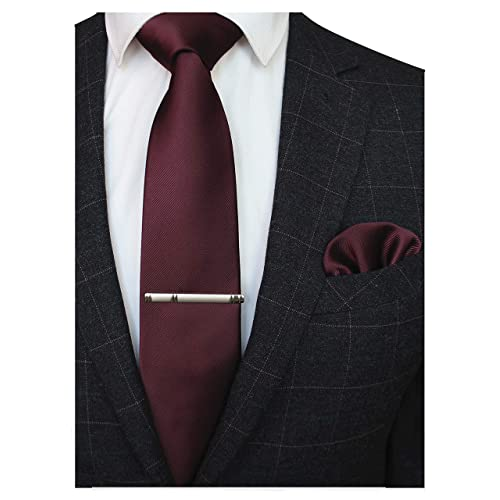 8d106cbe25a4 JEMYGINS Solid Color Formal Necktie and Pocket Square Tie Clip Sets for Men