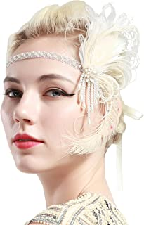 BABEYOND 1920s Flapper Headband for Great Gatsby Themed Wedding Roaring 20s Bridal Peacock Headpiece 1920s Flapper Gatsby Hair Accessories