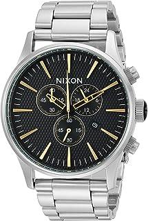 ساعة نيكسون سنتري كرونو اليابانية للرجال بسوار من الستانلس ستيل، فضي، 12 (الموديل: A3862730)