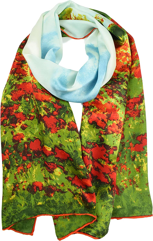 Elegna 100% Luxurious Max 45% OFF Silk Scarf Painted Monet Claude Famous Washington Mall Sca