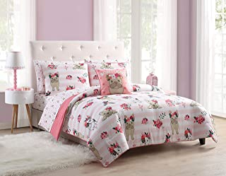 MSTS Bring Sweet Dreams to Any Room in Your House with Super Adorable,Fun and Super Soft Lola The Frenchie Pink Striped Puppy Bed in a Bag Bedding Set,Queen