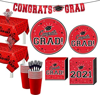 Party City Red Congrats Grad 2021 Graduation Party Supplies for 36 Guests with Banner and Tableware