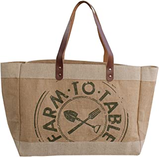 Earthwise Reusable Grocery Bag Shopping Tote Cotton Jute Burlap with Leather Handle - Water Resistant Laminated Inner Lining Great for Beach Picnics Farm to Table Print (Wide)