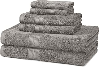 AmazonBasics 6-Piece Fade-Resistant Bath Towel Set - Grey