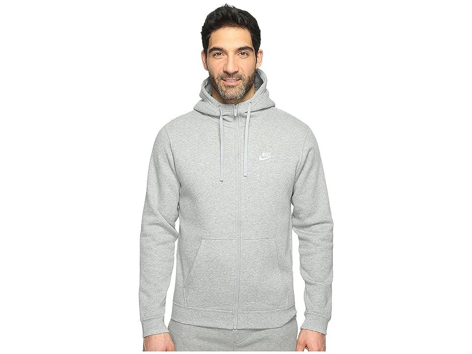 Nike Club Fleece Full-Zip Hoodie (Dark Grey Heather/Dark Grey Heather/White) Men