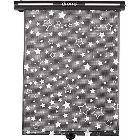 Diono Starry Night Car Window Shade for Baby, Retractable Car Sun Shade for Blocking Sun Glare, UV Rays with Glow in The Darks Stars, Black