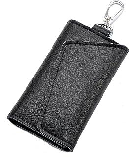 Heshe Leather Key Case Wallets Unisex Keychain Key Holder Ring with 6 Hooks Snap Closure (black)