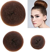 Styla Hair 3 Piece Donut Hair Bun Maker, (1 Small, 1 Medium, 1 Large) - Brown