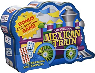 Puremco Mexican Train Double 12 Professional Size Dominoes with Bonus Chickenfoot Game Included Travel Tin Board Game, 91 Tiles, Challenging, Fun Game for Ages 6 Years & Up