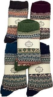 LuluVin Women's Warm Crew Knit Vintage Style Casual Dress Socks - 5 Pairs