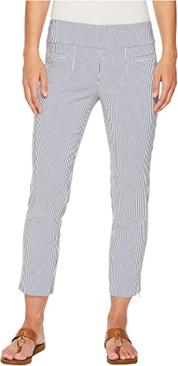 Elliott Lauren - Stretch Pull-On Regatta Stripe Crop Pants with Ankle Zip