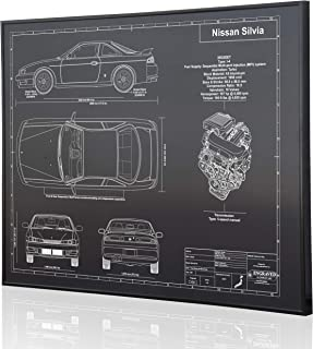 Nissan Silvia S14 Blueprint Artwork-Laser Marked & Personalized-The Perfect Nissan or Datsun Gifts