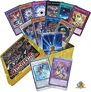 100 Yugioh Card Lot - Featuring 2018 Mega Tin Promo Pack Jaden or Yusei Holo Promos! Comes in Yugioh Tin! Golden Groundhog Deck Box Included!