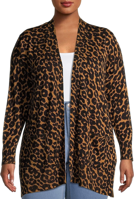 Terra & Sky Women's Plus Size Leopard Print Open-Front Cardigan