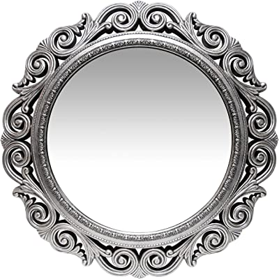 Amazon Com Infinity Instruments Antique Silver Wall Mirror 24 Inch Large Round Mirror Living Room Bedroom Circular Mirror Ornamental Round Mirrors For Wall Decor Antique Silver Decorative Mirrors For Bedroom Home Kitchen