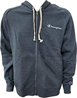 Mens Full Zip-Up Hoodie Small Script Logo, Charcoal Heather, Size X-Large