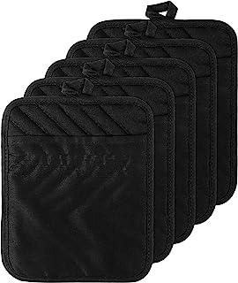 GROBRO7 5Pack Cotton Pocket Pot Holder Set Kitchen Heat Resistant Potholder Machine Washable Terry Cloth Potholders Bulk O...