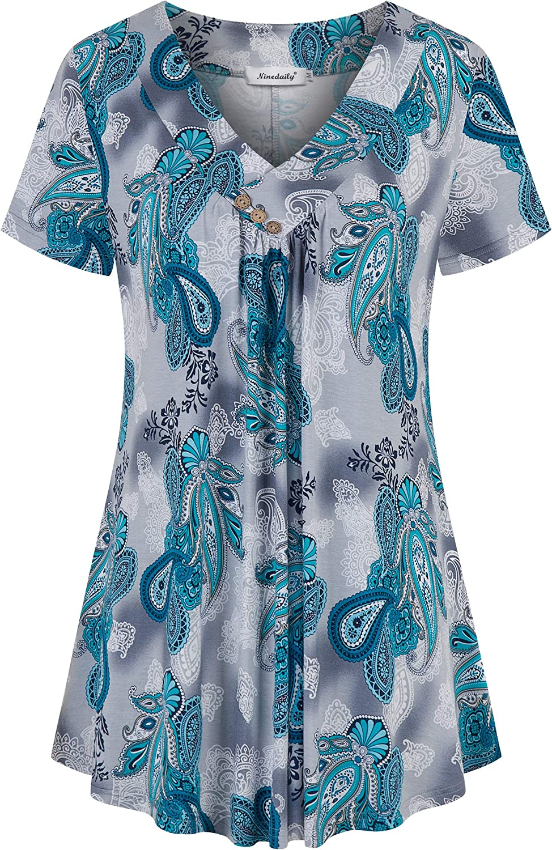 Ninedaily Women's Tunic Summer Short Sleeve Top Loose V Neck Dressy Shirt Blouse