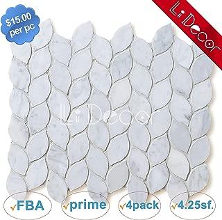 Italian Carrara White Marble Leaf Tiles Polished