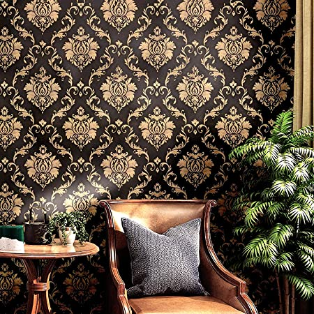 Wolpin Wall Stickers DIY Wallpaper (45 cm x 10 m) Black Damask Luxury Self Adhesive Decals Living Room Bedroom Decoration, Black