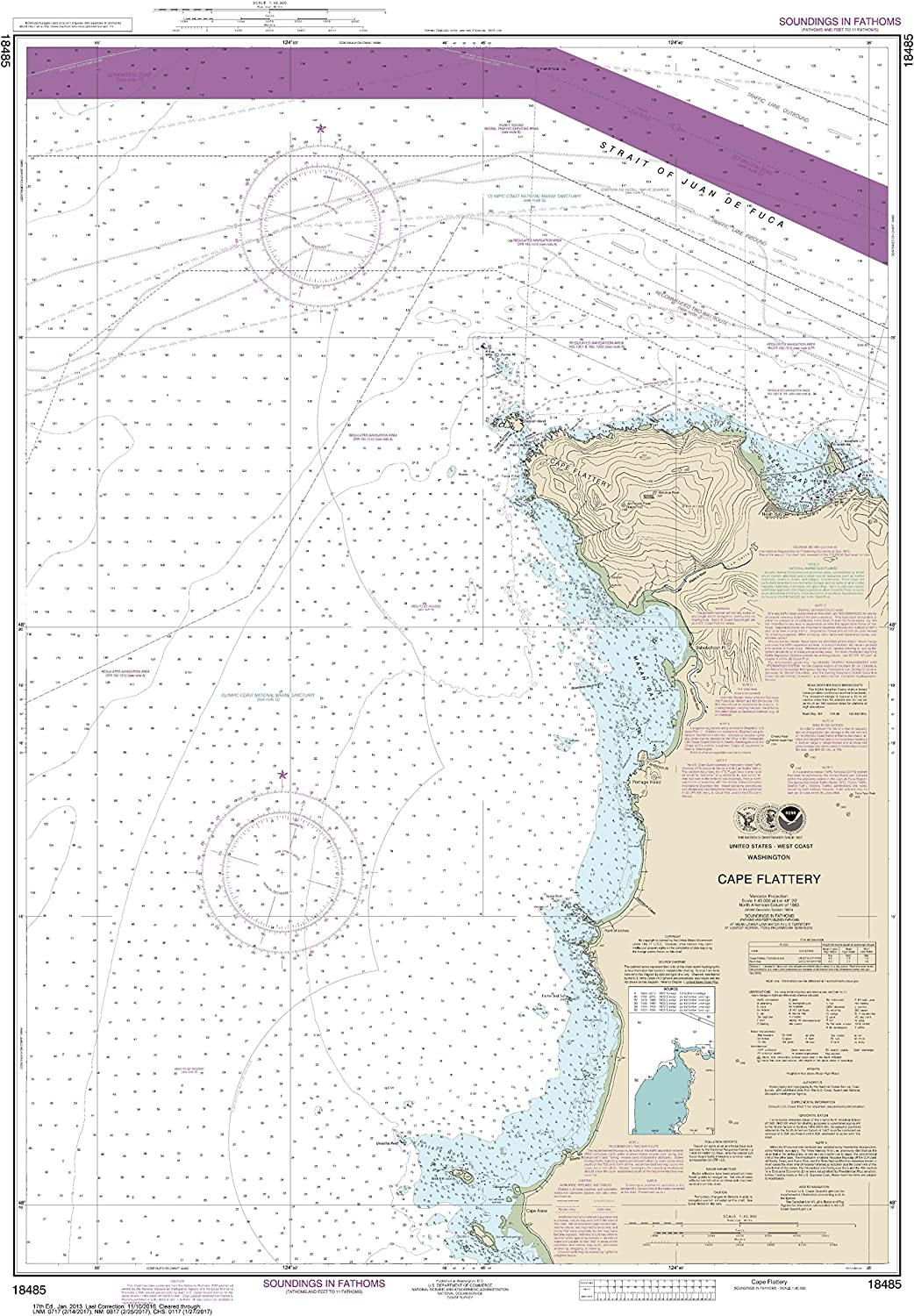Special price for a limited time NOAA Our shop OFFers the best service Chart 18485 Cape Flattery: Map X 28.84