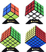 JoyTown Speed Cube Set of 4 Bundle Pack, 2x2 3x3 4x4 5x5 Puzzle Cube, Speedcubing with Bonus Four Stands and Screwdirver Black