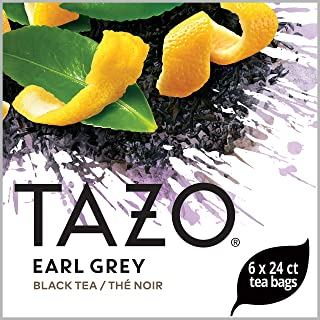 TazoEarl Grey Enveloped Hot Tea Bags Non GMO, 24 count, Pack of 6