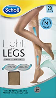 Scholl Light Legs Compression Tights 20 Denier for Tired Legs, Natural, Medium