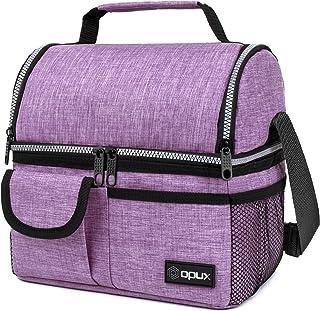 کیسه ناهار محفظه دو عایق OPUX برای زنان   کیسه کولر ناهار قابل استفاده مجدد با دو عرشه با بند شانه ، آستر نشت نرم   جعبه ناهار بزرگ برای کار ، مدرسه (بنفش)