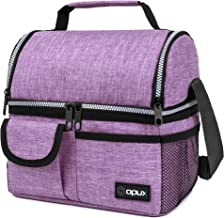 OPUX Insulated Dual Compartment Lunch Bag for Women   Double Deck Reusable Lunch Pail Cooler Bag with Shoulder Strap, Soft...
