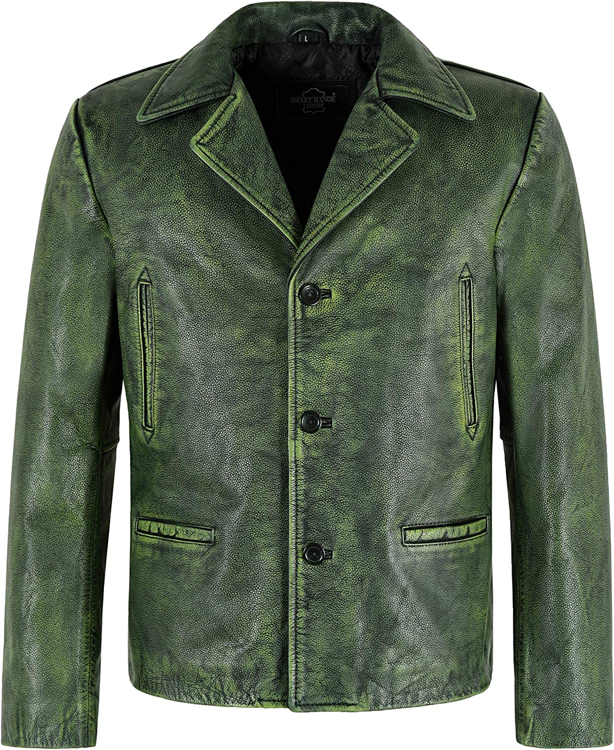 Mens 70's Green Vintage Classic Collared Blazer Real Cowhide Leather Jacket 4162