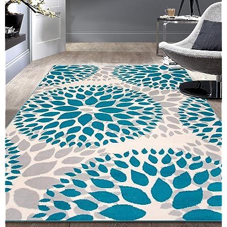 Modern Floral Circles Design Area Rugs 5 X 7 Blue Furniture Decor