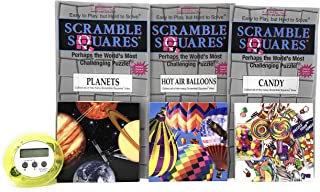 Bundle of Scramble Squares B. Dazzle Puzzles for Seniors/Adults/Teens/Kids - 3 Puzzles Included - Hot Air Balloons, Planets and Candy with A Bonus Digital Timer