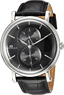 Oceanaut Men's Lexington Stainless Steel Quartz Watch with Silicone Strap, Black, 21 (Model: OC0345)