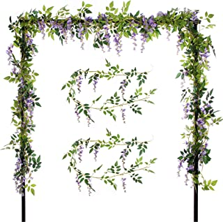 Felice Arts 2 Pcs Artificial Flowers 6.6ft/Piece Silk Wisteria Ivy Vine Green Leaf Hanging Vine Garland for Wedding Party Home Garden Wall Decoration (Purple)