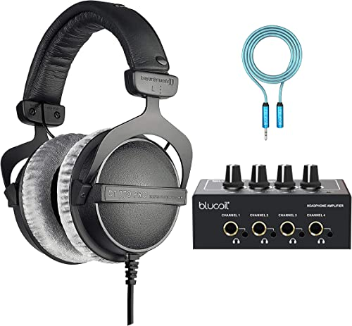 2021 Beyerdynamic high quality DT 770 PRO new arrival 32 Ohm Over-Ear Studio Headphones for Smartphones, Tablets, Mobile Devices Bundle with Blucoil 4-Channel Headphone Amplifier, and 6-FT Headphone Extension Cable (3.5mm) sale