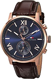 Tommy Hilfiger Men's Stainless Steel Quartz Watch with Leather Calfskin Strap, Brown, 22 (Model: 1791308)