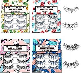 JIMIRE Fake Eyelashes12 Pairs False Eyelashes Multipack Reusable 4 Styles False Lashes