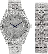 Mens Watch w/Matching Iced Look Bracelet Rolly Hip Hop Metal Timepiece - Big Rhinestones on Trim and Elegant Baquette Time Indicators on Dial - Master Bling Designer - ST10226BGS