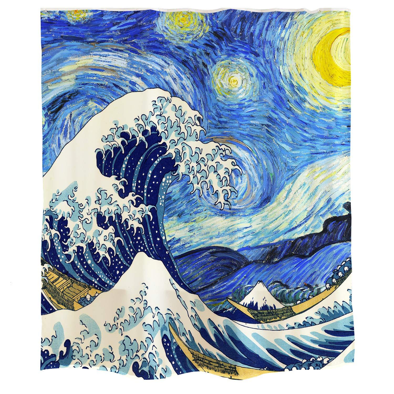 Orange Designゴッホ 星空 日本風 デザイン 浮世絵シャワーカーテン 浴室装飾 神奈川 サーフィン青い油絵の風格 星 月 波 ブルー 白い 金 青い 防水、防カビ 女 男 ポリエステル 紡績物 シャワーカーテン 芸術 装飾 180 * 180cm