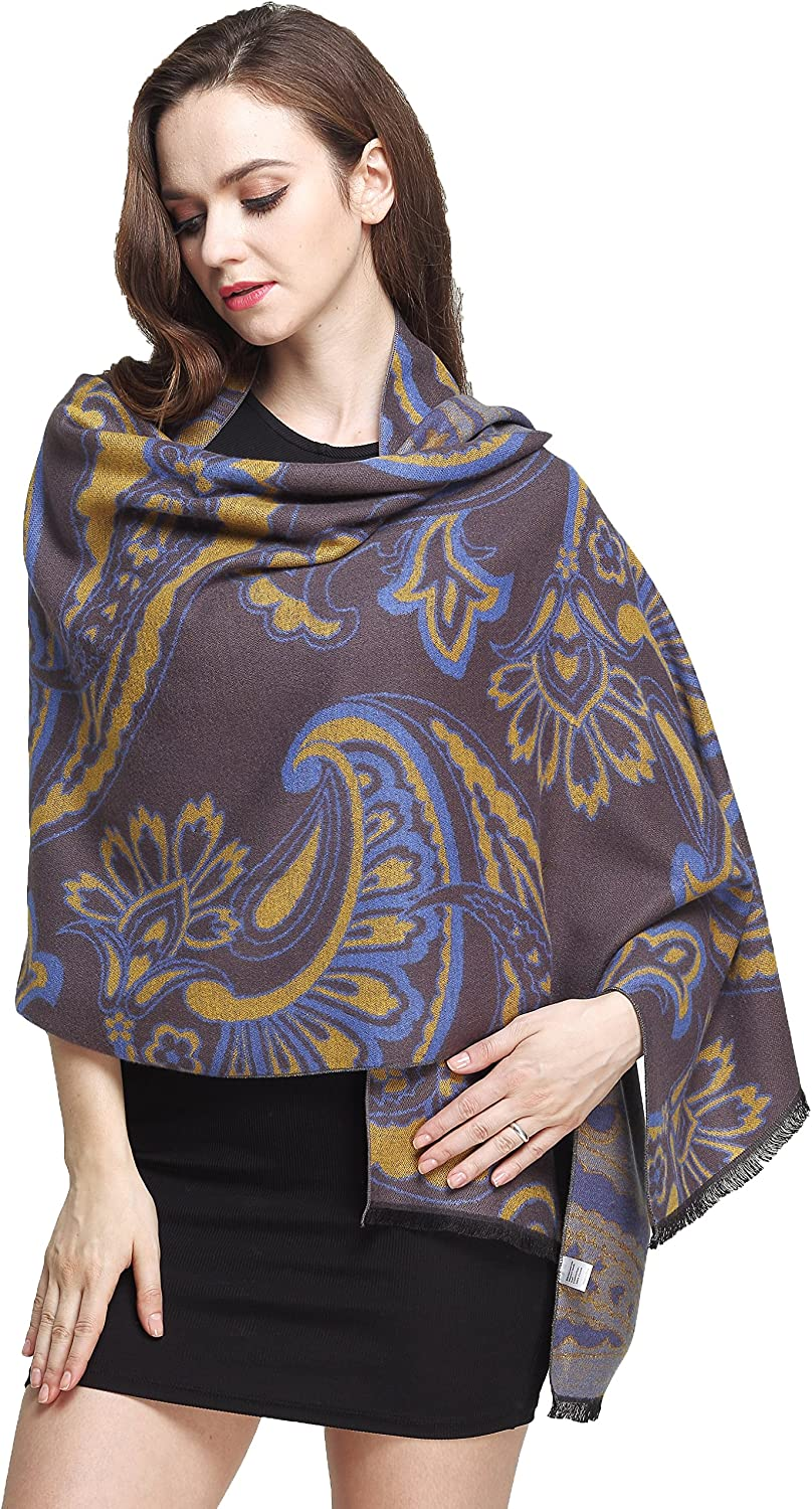 Camii Mia Women's Soft Cashmere Feel Large Floral Wraps Shawls Scarf