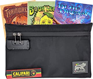 Califari Smell Proof Bag & Rolling Papers with Mystery Strain Art Postcard | Waterproof Carbon Lined Stash Bag with Combination Lock | Ideal Smell Proof Container Pipes, Cartridges, etc