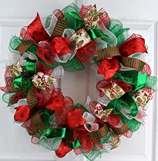 Christmas Wreaths | Red White Emerald Green Outdoor Mesh Front Door Wreath : C2