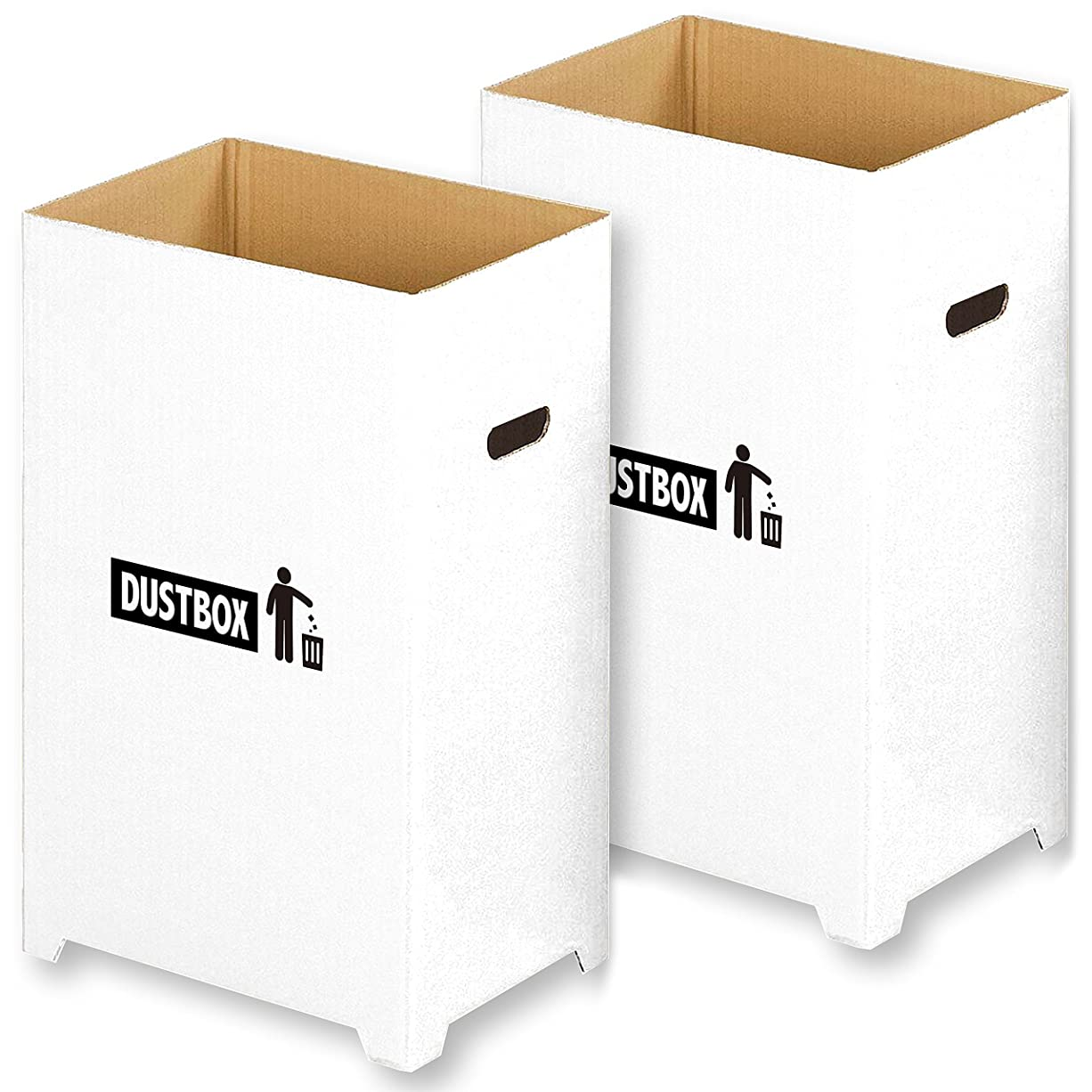 旧正月出撃者嫌がる【Amazon.co.jp限定】 撥水加工 汚れに強い おしゃれ で スリム な ダンボール ダストボックス 分別 ゴミ箱 ホワイト 2個組 ( 45リットル ゴミ袋 対応)