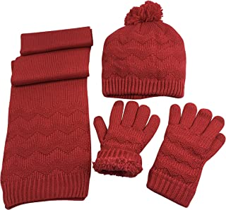 N'Ice Caps Women's Sherpa Lined Cable Knit Hat/Scarf/Glove 3PC Accessory Set