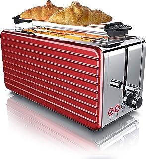 Arendo - Grille-pain Inox automatique à 2 longues fentes pour 4 tranches - Fonction de décongélation - 6 niveaux de brunis...