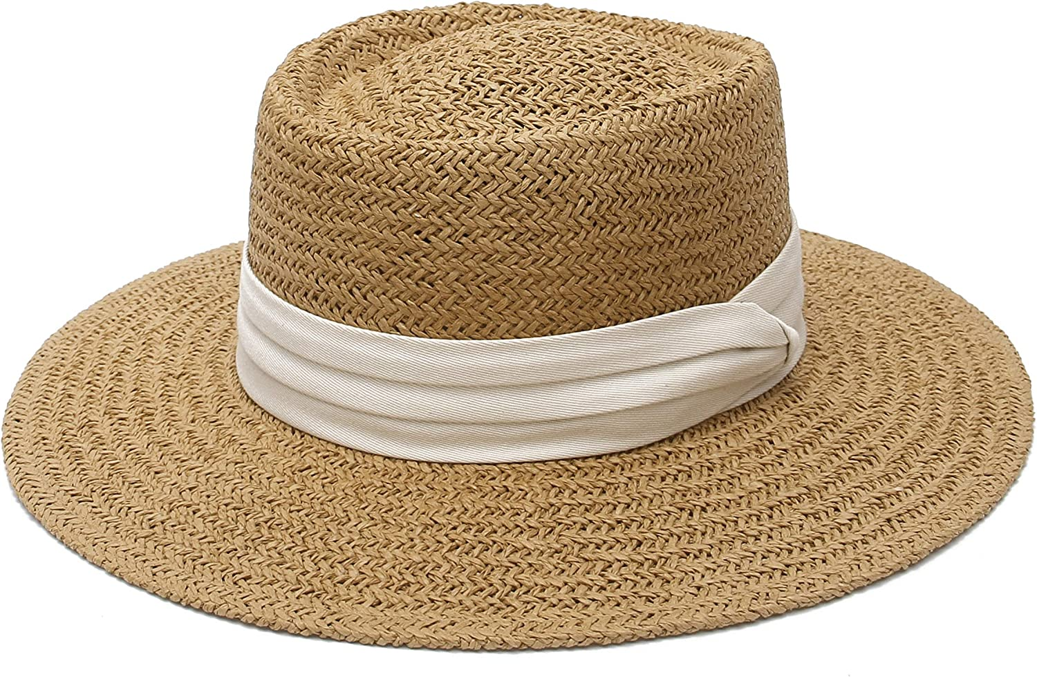 EOZY Womens Vintage Straw Boater Hat Wide Brim Fedora Sun Hat Church Wedding Hat with Band