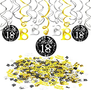 18th Birthday Decoration Black and Gold, Konsait 18th Swirl Birthday Party Hanging Decorations (15 Counts), Happy Birthday & 18th Birthday Party Table Confetti (1.05oz), 18 Years Old Party Supplies